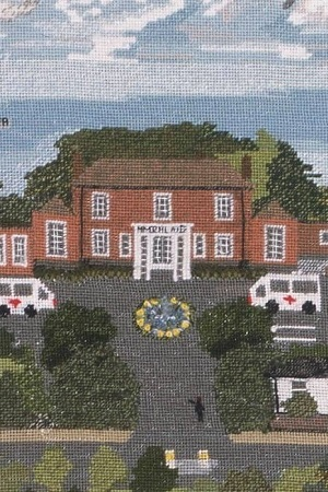 Close up of Knutsford Tapestry showing Memorial House